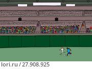 Купить «Soccer Players and Diverse Crowd at Stadium», иллюстрация № 27908925 (c) PantherMedia / Фотобанк Лори