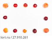 Купить «frame from ripe nectarines and peaches», фото № 27910261, снято 17 июня 2019 г. (c) PantherMedia / Фотобанк Лори