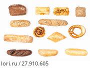 Купить «various fresh buns and loaves on white background», фото № 27910605, снято 23 января 2019 г. (c) PantherMedia / Фотобанк Лори