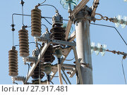 Купить «Electric pole with insulator», фото № 27917481, снято 16 июля 2019 г. (c) PantherMedia / Фотобанк Лори