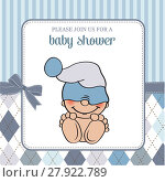 Купить «baby boy shower card with funny little baby», фото № 27922789, снято 23 июля 2018 г. (c) PantherMedia / Фотобанк Лори