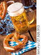 Купить «oktoberfest pretzel and beer», фото № 27926913, снято 8 октября 2018 г. (c) PantherMedia / Фотобанк Лори