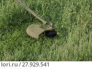 Купить «Mowing green grass using a fishing line trimmer», фото № 27929541, снято 18 августа 2018 г. (c) PantherMedia / Фотобанк Лори