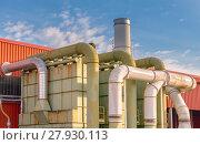 Купить «System of filtration of a factory», фото № 27930113, снято 19 июля 2018 г. (c) PantherMedia / Фотобанк Лори