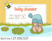 Купить «baby boy shower card with funny little baby», фото № 27930537, снято 23 июля 2018 г. (c) PantherMedia / Фотобанк Лори