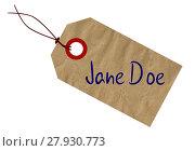 Купить «Jane Doe Tag», фото № 27930773, снято 22 июля 2018 г. (c) PantherMedia / Фотобанк Лори