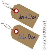Купить «Jane And John Doe Tags», фото № 27930821, снято 22 июля 2018 г. (c) PantherMedia / Фотобанк Лори