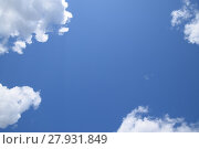 Купить «Bright midday blue sky with clouds», фото № 27931849, снято 19 августа 2019 г. (c) PantherMedia / Фотобанк Лори