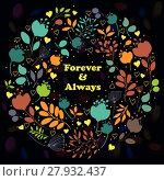 Купить «Colorful floral ring. Forever and Always», иллюстрация № 27932437 (c) PantherMedia / Фотобанк Лори