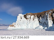 Купить «Covered with thick ice crusts, the cliffs of Olkhon Island on the Siberian Lake Baikal in February», фото № 27934669, снято 11 февраля 2018 г. (c) Виктория Катьянова / Фотобанк Лори