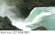 Купить «Waterfall in Torres del Paine National Park, Chile. Slow motion», видеоролик № 27934961, снято 12 февраля 2015 г. (c) Алексей Кузнецов / Фотобанк Лори