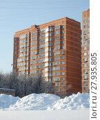 Купить «Семнадцати-восемнадцатиэтажный семиподъездный монолитно-кирпичный жилой дом, построен по индивидуальному проекту в 2008 году. Байкальская улица, 18, корпус 4. Район Гольяново. Город Москва», эксклюзивное фото № 27935805, снято 6 февраля 2018 г. (c) lana1501 / Фотобанк Лори