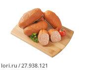 Купить «short sausage links», фото № 27938121, снято 22 января 2019 г. (c) PantherMedia / Фотобанк Лори