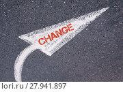 Купить «Directional white painted arrow with word CHANGE over road surface», фото № 27941897, снято 20 августа 2019 г. (c) PantherMedia / Фотобанк Лори