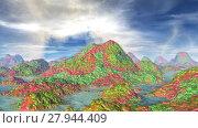 Купить «Чужая планета. Скалы и озеро. Анимация. Панорама. 4К», видеоролик № 27944409, снято 17 февраля 2018 г. (c) Parmenov Pavel / Фотобанк Лори