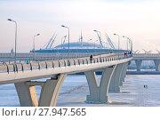 Купить «Люди идут по Яхтенному мосту в сторону Крестовского острова. Санкт-Петербург», фото № 27947565, снято 15 февраля 2018 г. (c) Румянцева Наталия / Фотобанк Лори