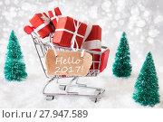 Купить «Trolly With Christmas Gifts And Snow, Text Hello 2017», фото № 27947589, снято 25 апреля 2019 г. (c) PantherMedia / Фотобанк Лори