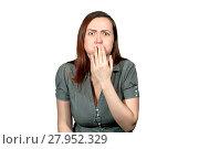 A girl on a white background looks like she wants to vomit. Стоковое фото, фотограф Евгений Харитонов / Фотобанк Лори