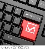Купить «Red enter button with check mark on black keyboard», фото № 27952765, снято 17 июня 2019 г. (c) PantherMedia / Фотобанк Лори