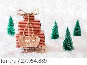 Купить «Sleigh On Snow, Joyeux Noel Means Merry Christmas», фото № 27954889, снято 25 апреля 2019 г. (c) PantherMedia / Фотобанк Лори