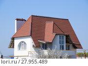 Купить «The roof of corrugated sheet on the houses», фото № 27955489, снято 26 мая 2019 г. (c) PantherMedia / Фотобанк Лори