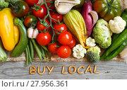 Купить «Fresh vegetables and wooden letters», фото № 27956361, снято 19 февраля 2018 г. (c) PantherMedia / Фотобанк Лори