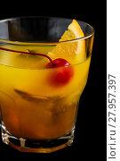Купить «Mai Tai cocktails on black background», фото № 27957397, снято 19 января 2019 г. (c) PantherMedia / Фотобанк Лори