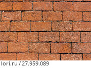 Купить «texture detailed ancient red brick wall», фото № 27959089, снято 22 октября 2018 г. (c) PantherMedia / Фотобанк Лори