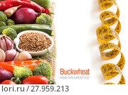 Купить «Raw buckwheat and vegetables», фото № 27959213, снято 20 февраля 2018 г. (c) PantherMedia / Фотобанк Лори