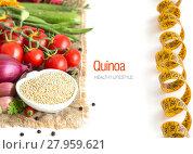 Купить «Raw organic quinoa and vegetables», фото № 27959621, снято 20 февраля 2018 г. (c) PantherMedia / Фотобанк Лори