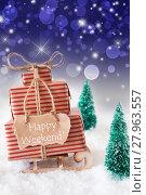 Купить «Vertical Christmas Sleigh On Blue Background, Text Happy Weekend», фото № 27963557, снято 29 мая 2020 г. (c) PantherMedia / Фотобанк Лори