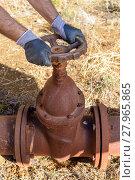 Купить «Workman Shunting a valve», фото № 27965865, снято 4 июля 2020 г. (c) PantherMedia / Фотобанк Лори