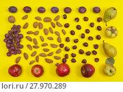 Купить «Autumn setting of organic nuts and fruits on yellow background», фото № 27970289, снято 23 апреля 2019 г. (c) PantherMedia / Фотобанк Лори