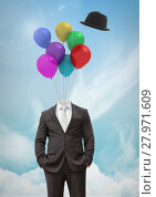 Купить «Headless man with surreal floating hat and balloons in front of sky», фото № 27971609, снято 23 июля 2018 г. (c) Wavebreak Media / Фотобанк Лори
