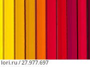Купить «Background of parallel colorful pencils, close up», фото № 27977697, снято 20 сентября 2018 г. (c) PantherMedia / Фотобанк Лори