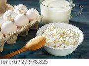 Cheese, yogurt and eggs. Стоковое фото, фотограф Okssi / Фотобанк Лори