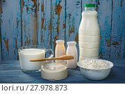 Купить «Dairy products on a blue table», фото № 27978873, снято 8 февраля 2018 г. (c) Okssi / Фотобанк Лори
