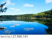 Купить «landscape with beautiful lake in the forest», фото № 27980141, снято 23 марта 2019 г. (c) PantherMedia / Фотобанк Лори