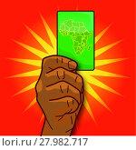 Купить «hand shows a map with africa», иллюстрация № 27982717 (c) PantherMedia / Фотобанк Лори