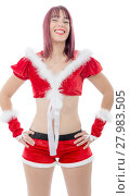 Купить «Smiling girl in santa clause costume», фото № 27983505, снято 26 мая 2018 г. (c) PantherMedia / Фотобанк Лори
