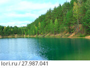 Купить «lake in the forest with pine slopes», фото № 27987041, снято 23 марта 2019 г. (c) PantherMedia / Фотобанк Лори