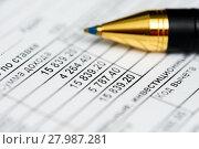 Купить «Справка о доходах физического лица крупным планом. Таблица с суммой налогов и шариковая ручка», эксклюзивное фото № 27987281, снято 8 февраля 2018 г. (c) Игорь Низов / Фотобанк Лори