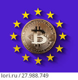 Купить «bitcoin Gold coin with the symbol of Europe on an ultraviolet background», фото № 27988749, снято 18 января 2018 г. (c) Ярослав Данильченко / Фотобанк Лори