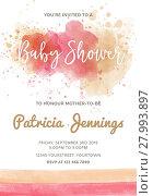Купить «Gorgeous watercolor baby shower invitation, vector format», иллюстрация № 27993897 (c) PantherMedia / Фотобанк Лори