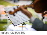 Купить «Male violinist playing his instrument and reading a music sheet during an outdoor summer wedding ceremony (shallow DOF; color toned image)», фото № 27996509, снято 26 июня 2019 г. (c) PantherMedia / Фотобанк Лори