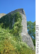Купить «old castle wall ruin with ivy in front of blue sky», фото № 27997281, снято 22 сентября 2019 г. (c) PantherMedia / Фотобанк Лори