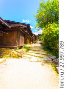 Купить «Tsumago Village Nakasendo Dirt Road Rustic House V», фото № 27997789, снято 22 сентября 2018 г. (c) PantherMedia / Фотобанк Лори