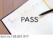 Купить «Pass text concept on notebook», фото № 28001917, снято 20 июня 2019 г. (c) PantherMedia / Фотобанк Лори