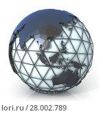 Купить «Polygonal style illustration of earth globe, Asia and Oceania view», фото № 28002789, снято 19 октября 2019 г. (c) PantherMedia / Фотобанк Лори