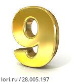 Купить «Numerical digits collection, 9 - NINE. 3D golden sign», фото № 28005197, снято 14 декабря 2018 г. (c) PantherMedia / Фотобанк Лори